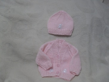 Handknitted Premature Baby cardigan Set in Pink