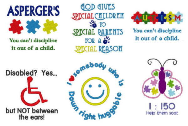 Autism, Asperges, Disabled, Downs, Special Needs Embroidery Designs
