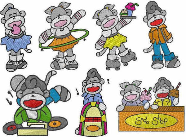 Fifties Sock Monkey Embroidery Designs