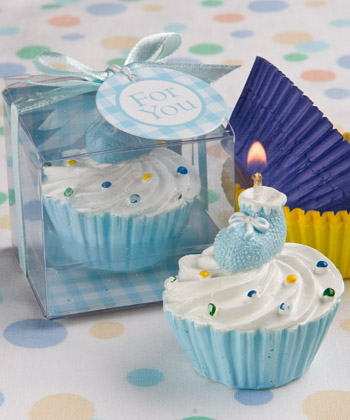 Blue bootie cupcake candle