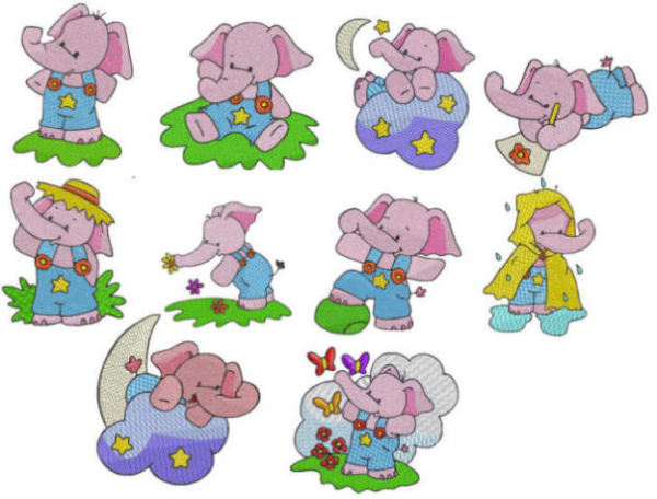 Pink Elephants Embroidery Designs